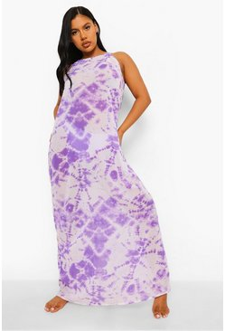Tie Dye Chiffon Beach Maxi Dress, Lilac morado