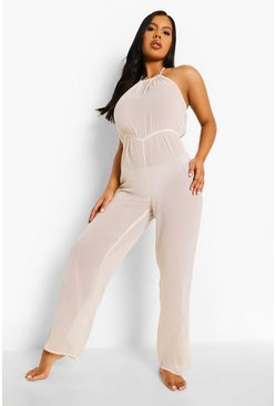 Light sand beige Chiffon High Neck Beach Jumpsuit