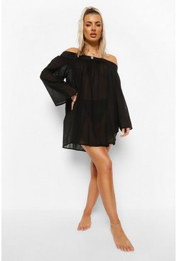 Black Linen Look Off Shoulder Beach Dress