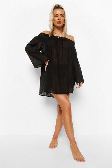 Black Linen Look Off Shoulder Beach Dress