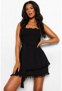 Black svart Crinkle Cotton Shirred Bandeau Beach Dress