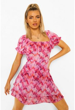 Pink Printed Chiffon Bardot Layered Beach Dress
