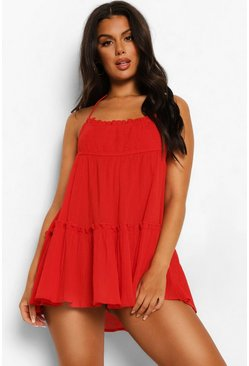 Red Crinkle Cotton Halter Neck Beach Dress