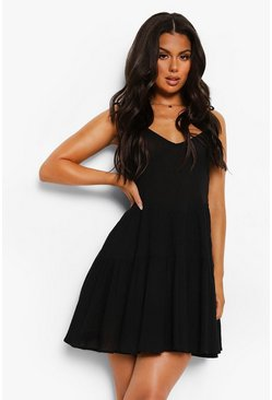 Crinkle Cotton Tie Strap Tiered Beach Dress, Black negro