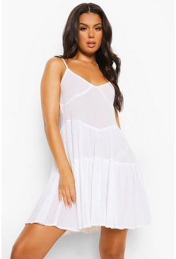 White Crinkle Cotton Tie Strap Tiered Beach Dress