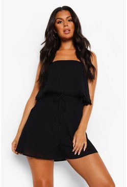 Crinkle Cotton Over Layer Beach Playsuit, Black negro