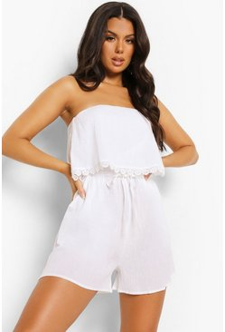 White Crinkle Cotton Over Layer Beach Playsuit