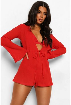 Red Crinkle Cotton Flared Sleeve Beach Playsuit