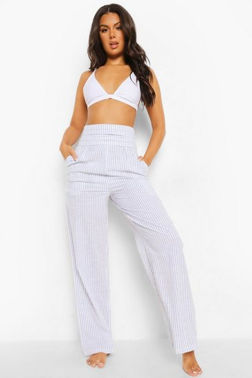 Light stone Striped Linen Pleated Wide Leg Beach Trousers