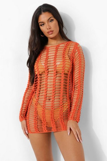 Orange Crochet Beach Mini Dress