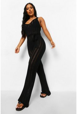 Black Knitted Tie Waist Beach Jumpsuit