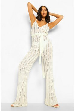 White Knitted Tie Waist Beach Jumpsuit