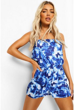 Blue Butterfly Tie Dye Bandeau Beach Playsuit