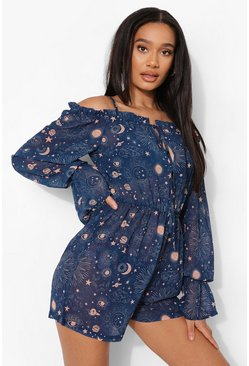 Blue Constellation Print Beach Playsuit