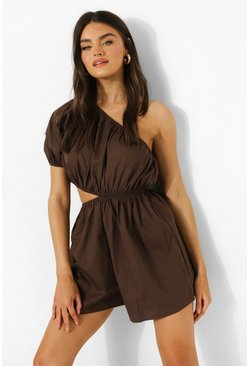 Chocolate brown One Shoulder Cut Out Detail Beach Playsuit