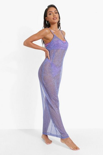 Blue Glitter Diamante Beach Midi Dress