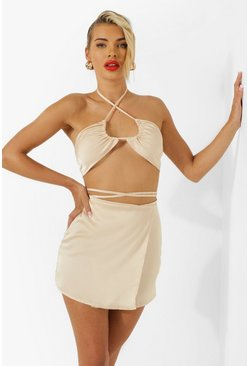 Champagne beige Satin Strappy Wrap Resort Mini Skirt