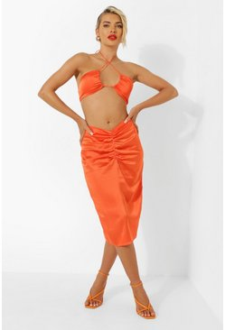 Orange Satin Ruched Front Resort Midi Skirt