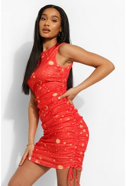 Red Constellation Print Ruched Beach Mini Dress