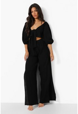 Black Cheesecloth Side Splits Beach Trouser