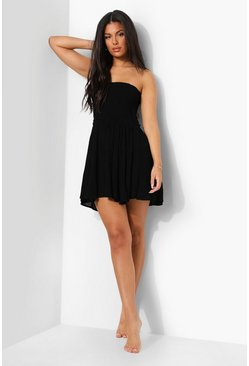 Shirred Woven Beach Dress, Black Чёрный