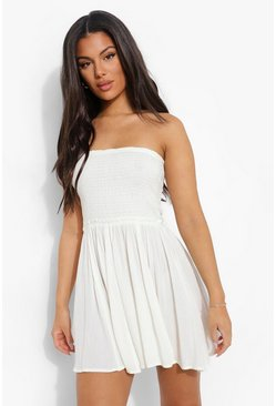 Ivory white Shirred Woven Beach Dress