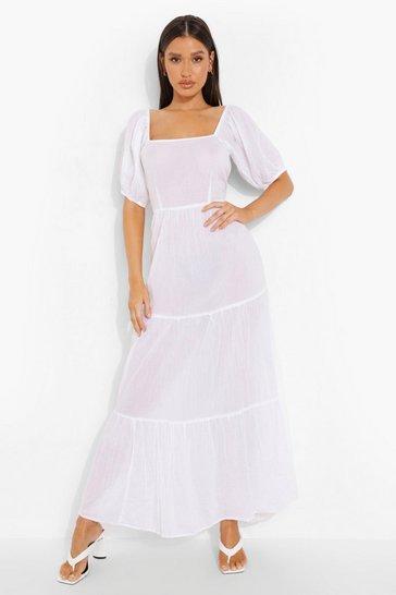 White Bride Open Back Maxi Beach Dress
