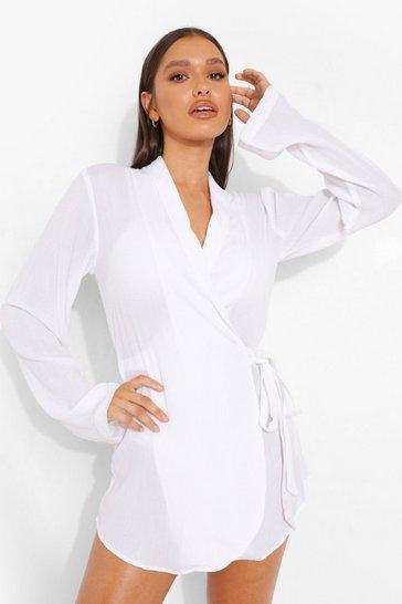 White Bride Cheese Cloth Wrap Beach Dress