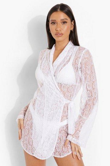 White Bride Lace Wrap Beach Dress
