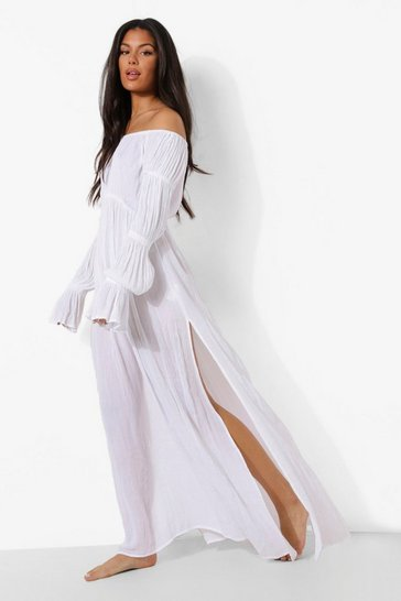 White Cheese Cloth Bardot Shirred Sleeve Beach Maxi