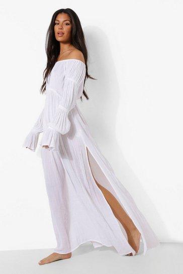 White Cheese Cloth Bardot Shirred Sleeve Beach Maxi