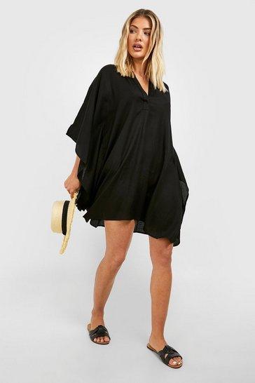 Black Linen Look Beach Kaftan