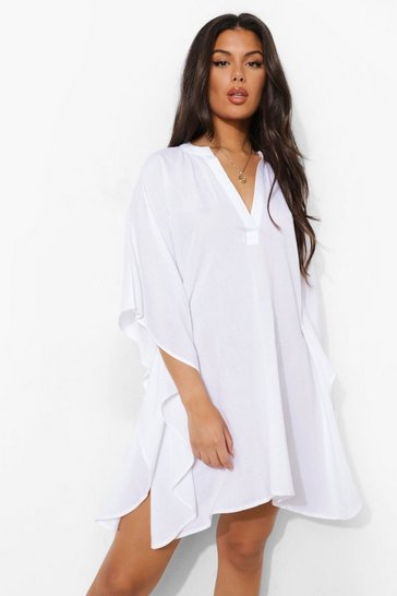 White Linen Look Beach Kaftan