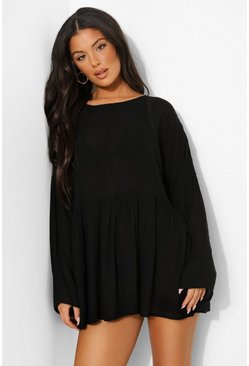 Black Cheese Cloth Smock Beach Dress