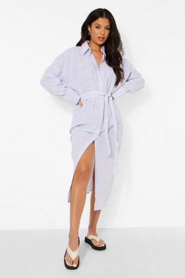 Light stone Linen Striped Maxi Beach Shirt Dress