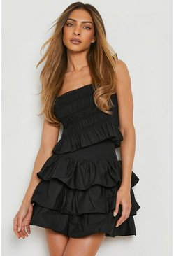 Cotton Shirred Top & Ruffle Skirt Co-ord, Black negro