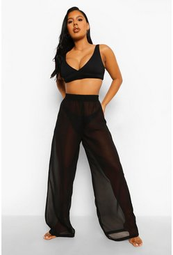 Chiffon Wide Leg Beach Trousers, Black negro