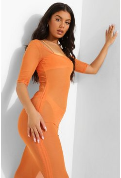 Tropicana Extreme Scoop Neck Beach Dress, Orange Оранжевый