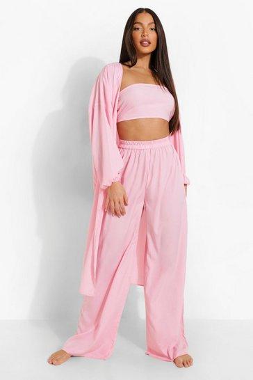 Blush pink Tall Bandeau Kimono Trouser Co-ord