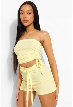Lemon yellow Rib Drawstring Side Beach Bandeau Top