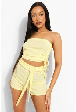 Lemon yellow Rib Tie Waist Beach Shorts