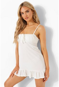 Rib Frill Hem Strappy Beach Dress, White blanco