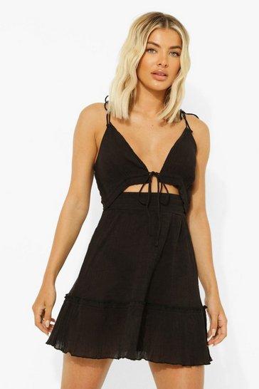 Black Tie Shoulder Cheesecloth Beach Dress