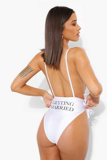 White Bride Open Back Slogan Swimsuit