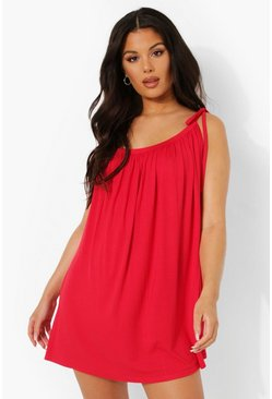 Red Off The Shoulder Jersey Beach Dress