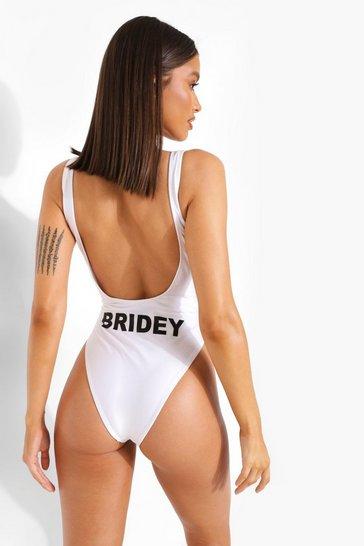 White Bride Scoop Back Slogan Swimsuit