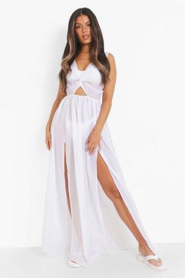 White Tie Back Thigh Split Maxi Dress