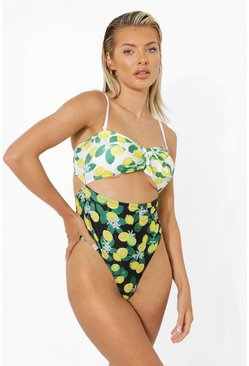 Black Lemon Bandeau Tie Front Cut Out Swimsuit