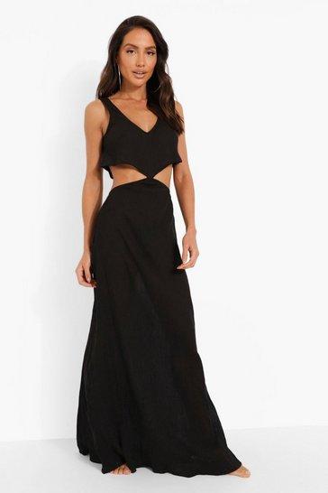 Black Cheesecloth Frill Cut Out Beach Maxi Dress