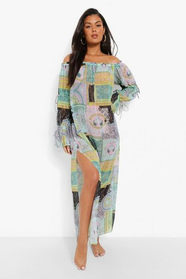 Gold metallic Bandana Chain Print Beach Dress